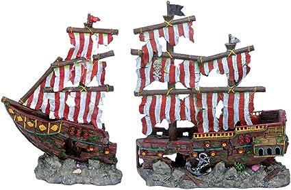 Amazon Com Penn Plax Striped Sail Shipwreck Aquarium Decoration