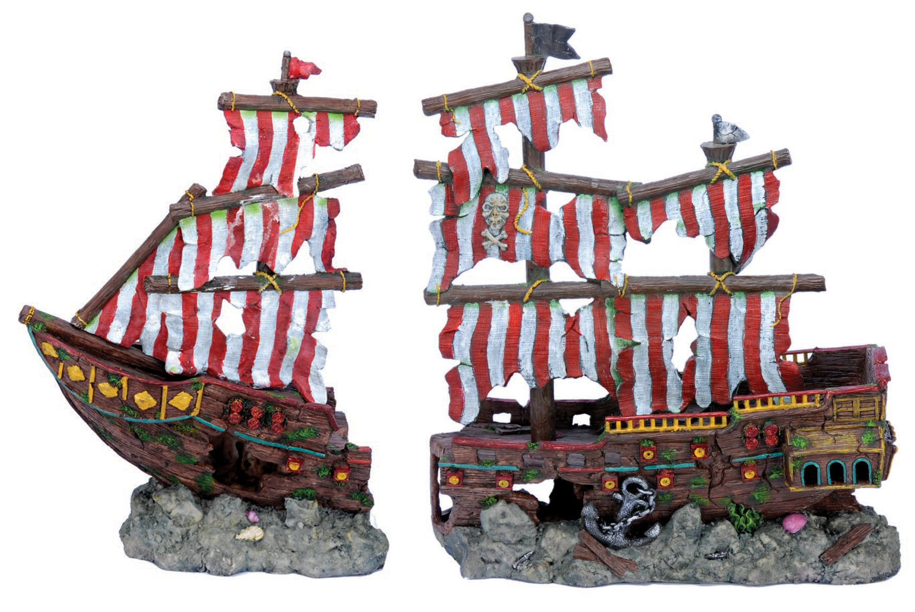 Penn Plax Striped Sail Shipwreck Aquarium Decoration 2PC Large Over 19 Inches High for Large Fish Tanks by Penn Plax