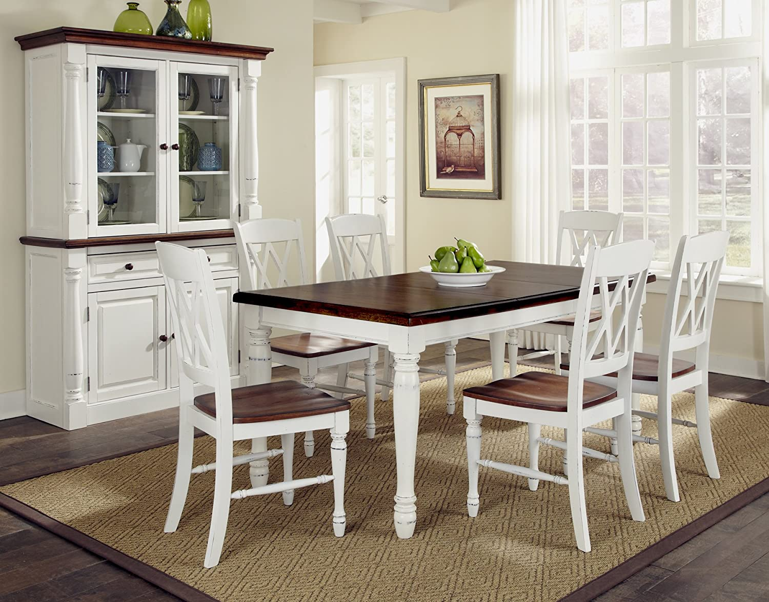 White dining room table - Amazon Com Home Styles 5020 309 Monarch Rectangular Dining Table And Six Double X Back Chair Tables