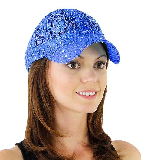 b20e5e8a0f9 Amazon.com  Lace Glitter Sequin Baseball Caps Hat Colors  Blue  Clothing