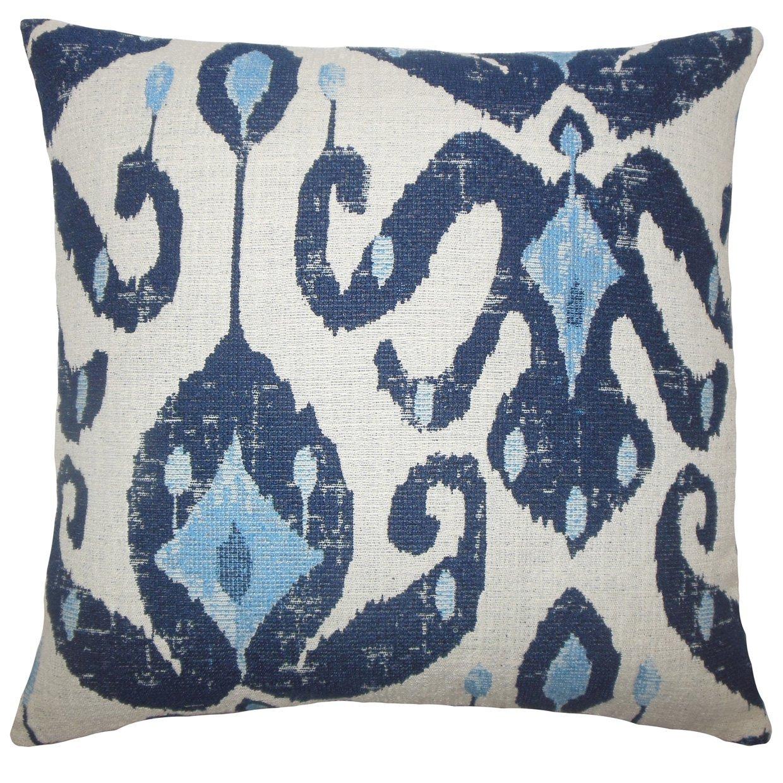 The Pillow Collection Eitan Ikat Bedding Sham Navy Queen//20 x 30