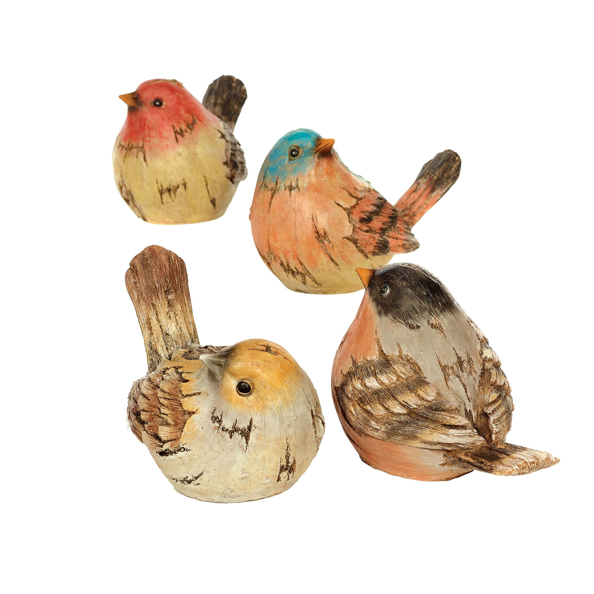 Napco Watchful Birds Golden Chestnut 9.75 x 6.5 Resin Stone Garden Figurines, Set of 4