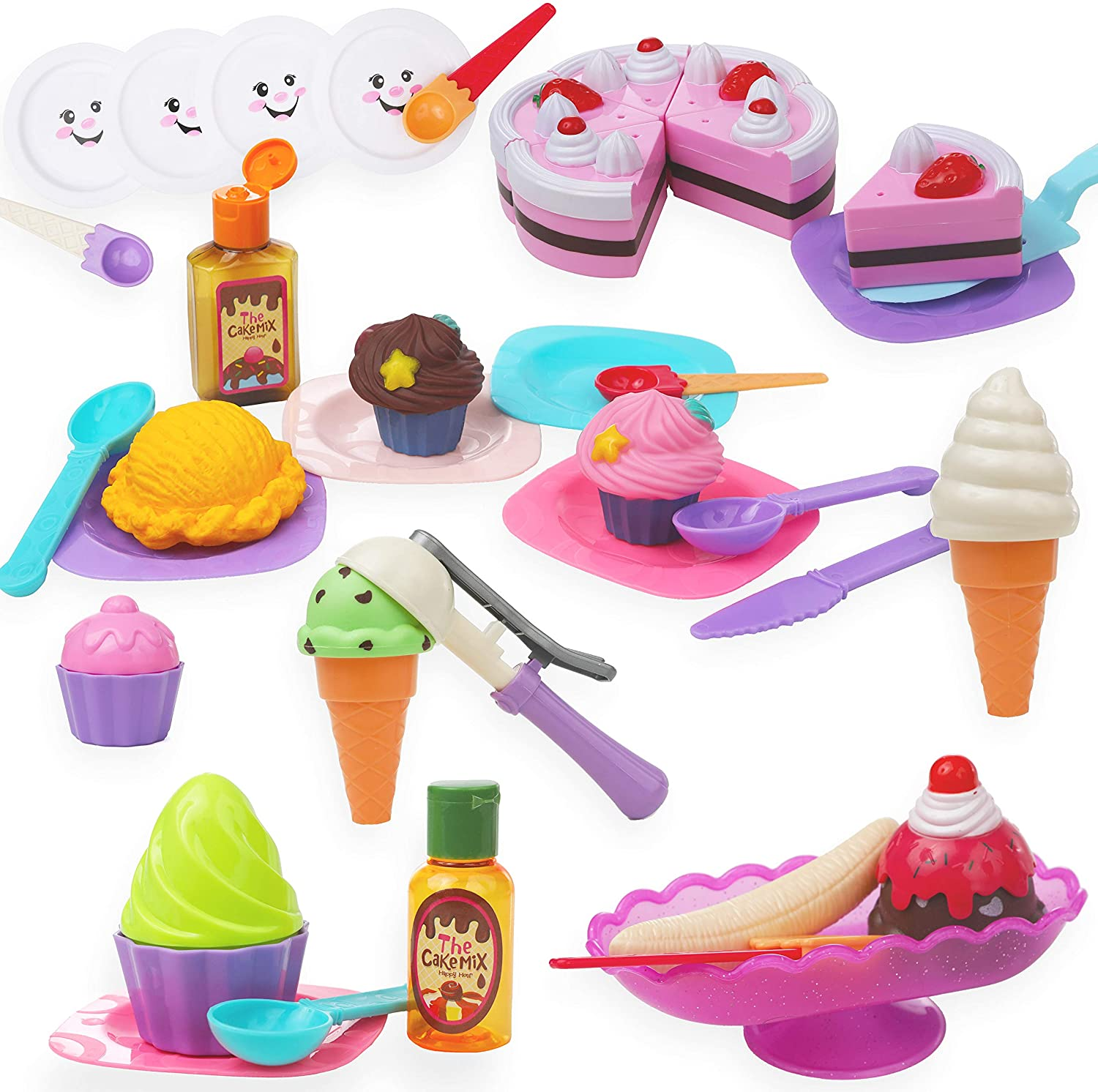 Top Right Toys Ice Cream Toy Playset for Kids - Frozen Dessert Food Kitchen Set with Cake, Ice Cream, Scoops, Cones, and Accessories (58 Pieces)