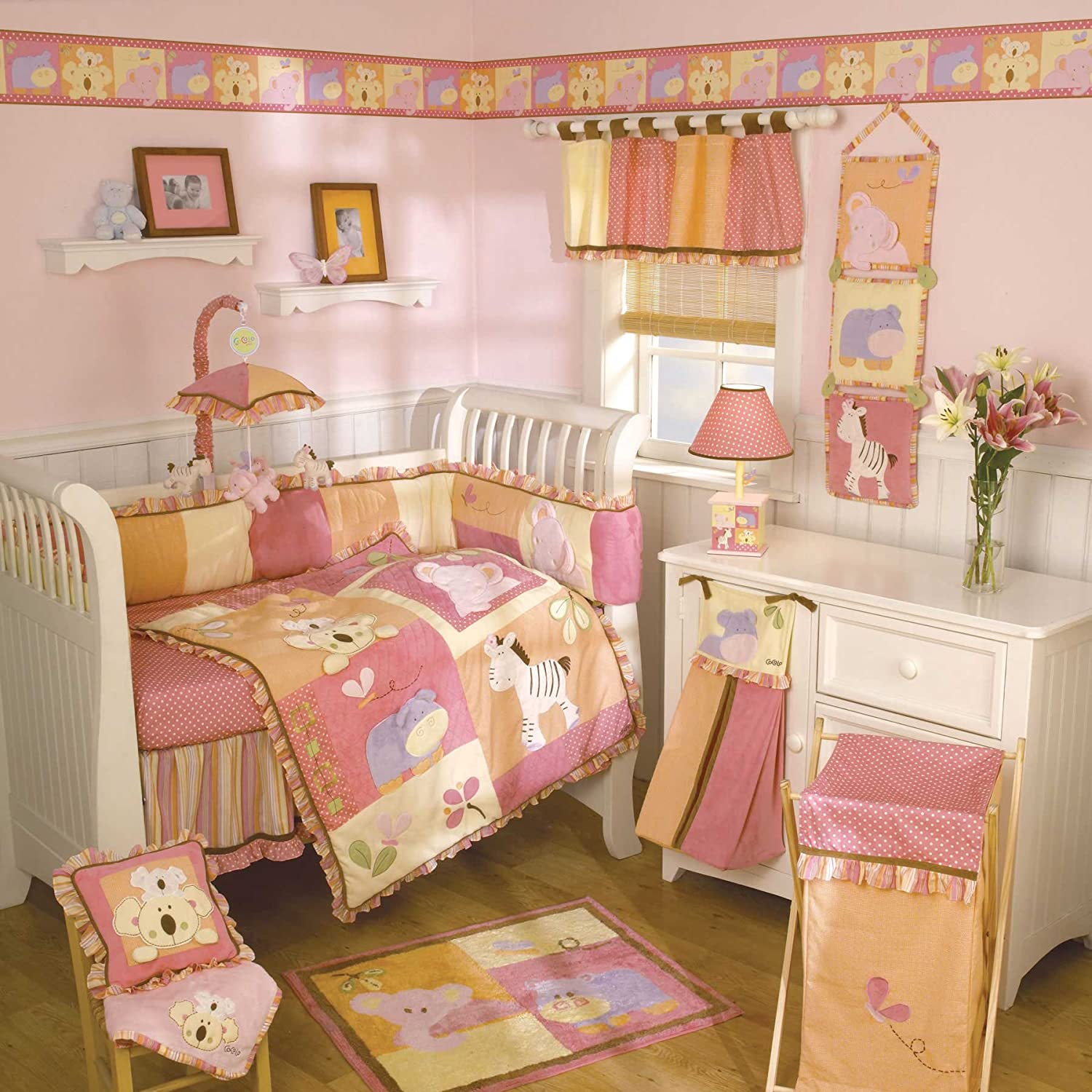 bed girl and princess carousel baby set pink chevron designs crib sets pale gold nursery bedding