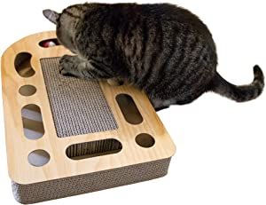 Furhaven Pet - Corrugated Cardboard Cat Scratcher Reversible Panels, Wall-Mounted Vertical Scratcher, Busy Box Toy Scratcher, & More Choices for Cats & Kittens - Multiple Styles & Colors