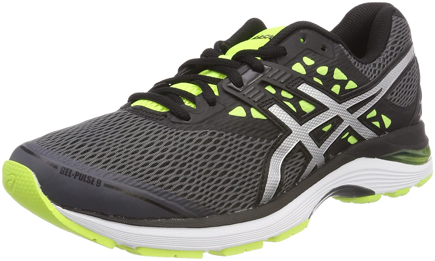 Asics Gel-Pulse 9, Zapatillas de Running para Hombre 42 EU|Multicolor (Carbon/Silver/Safety Yellow 9793)