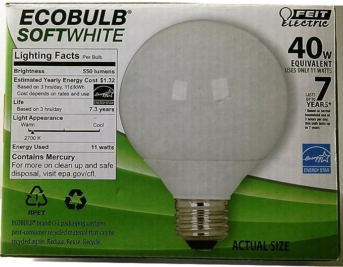 Feit Electric Ecobulb Globe Bath and Vanity 6 Pack CFL 40 Watt ...
