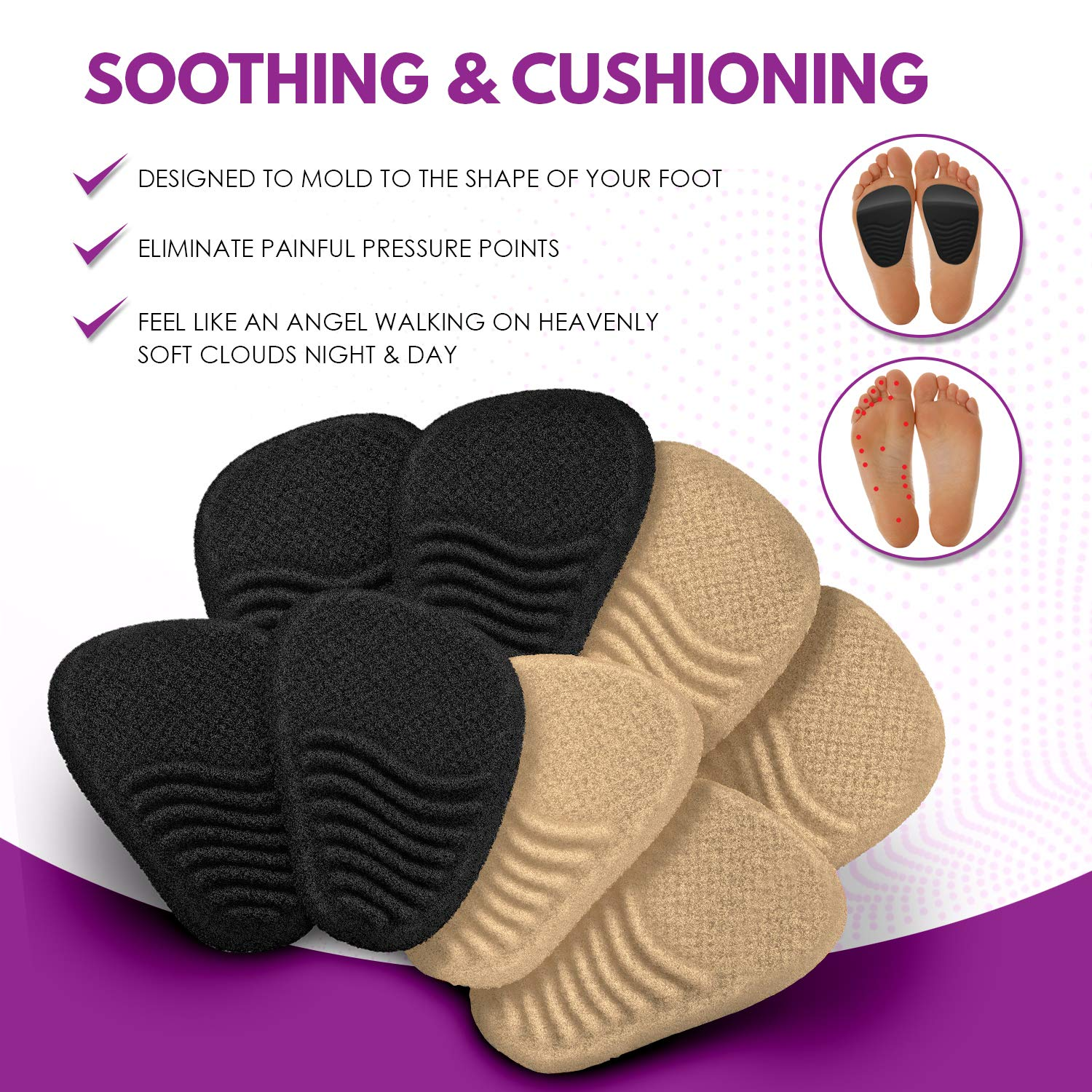 Metatarsal Pads for Women (4 Pairs: 8 Pieces) - Ball of Foot Cushions and High Heel Shoe Inserts | Protect Your Feet | Pain Relief from Neuroma, Bunions, Blisters, Callus, Metatarsalgia and Forefoot by Chambellan (Image #8)