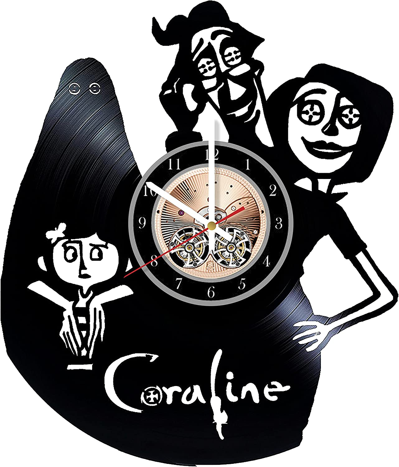 Amazon Com Coraline Dark Fantasy Horror Film Design Art Vinyl Record Wall Clock 12 Really The Most Original Gift For Him And Her Perfect Element Of The Interior And Amazing Home