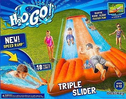 Inflatable Triple Water Slide Outdoor Kids Play Backyard Pool Big Splash  Spit - Amazon.com: Inflatable Triple Water Slide Outdoor Kids Play Backyard