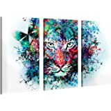 Impresión en lienzo, tamaño grande, arte en pared - Tiger Artwork - 120x80cm 3 Parts Lienzo ilustrado de montado sobre marco de madera - Impresión giclée sobre lienzo - Ilustración decorativa del tigre para colgar en la pared