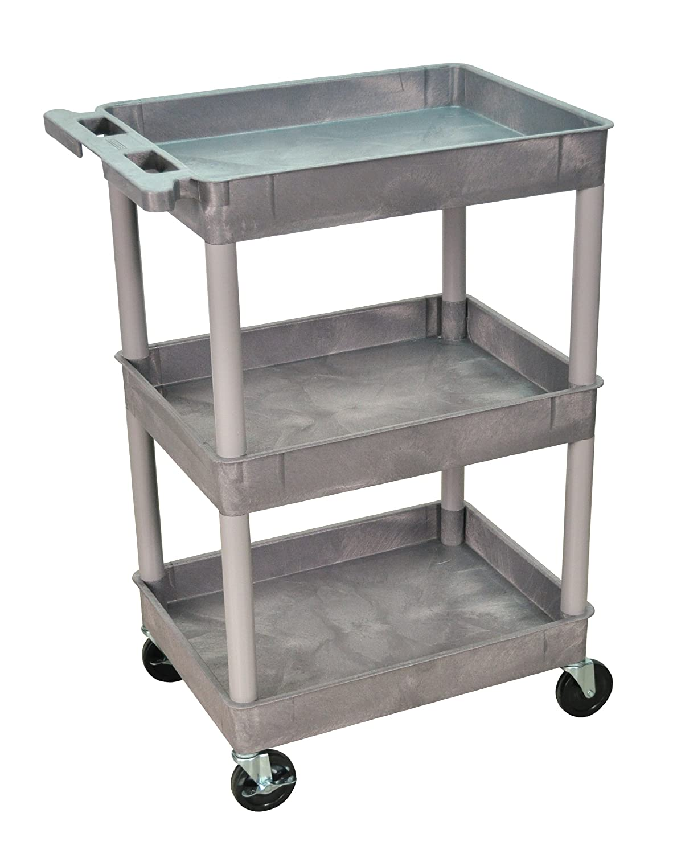 Amazon.com: Luxor/H.Wilson 3 Tub Shelf Utility Cart, Gray (STC111-G ...
