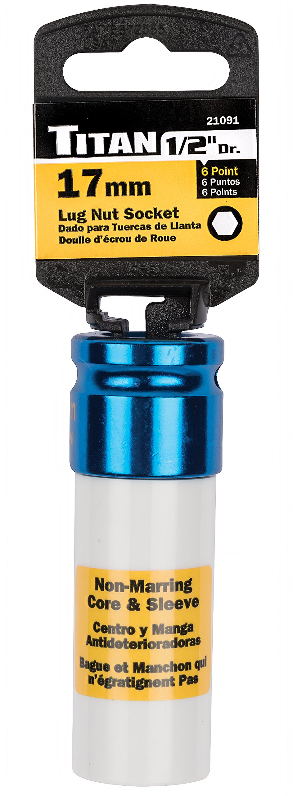 Titan Tools 21091 17mm 1/2'' Drive Non-Marring Deep Lug Nut Socket by Titan Tools (Image #2)
