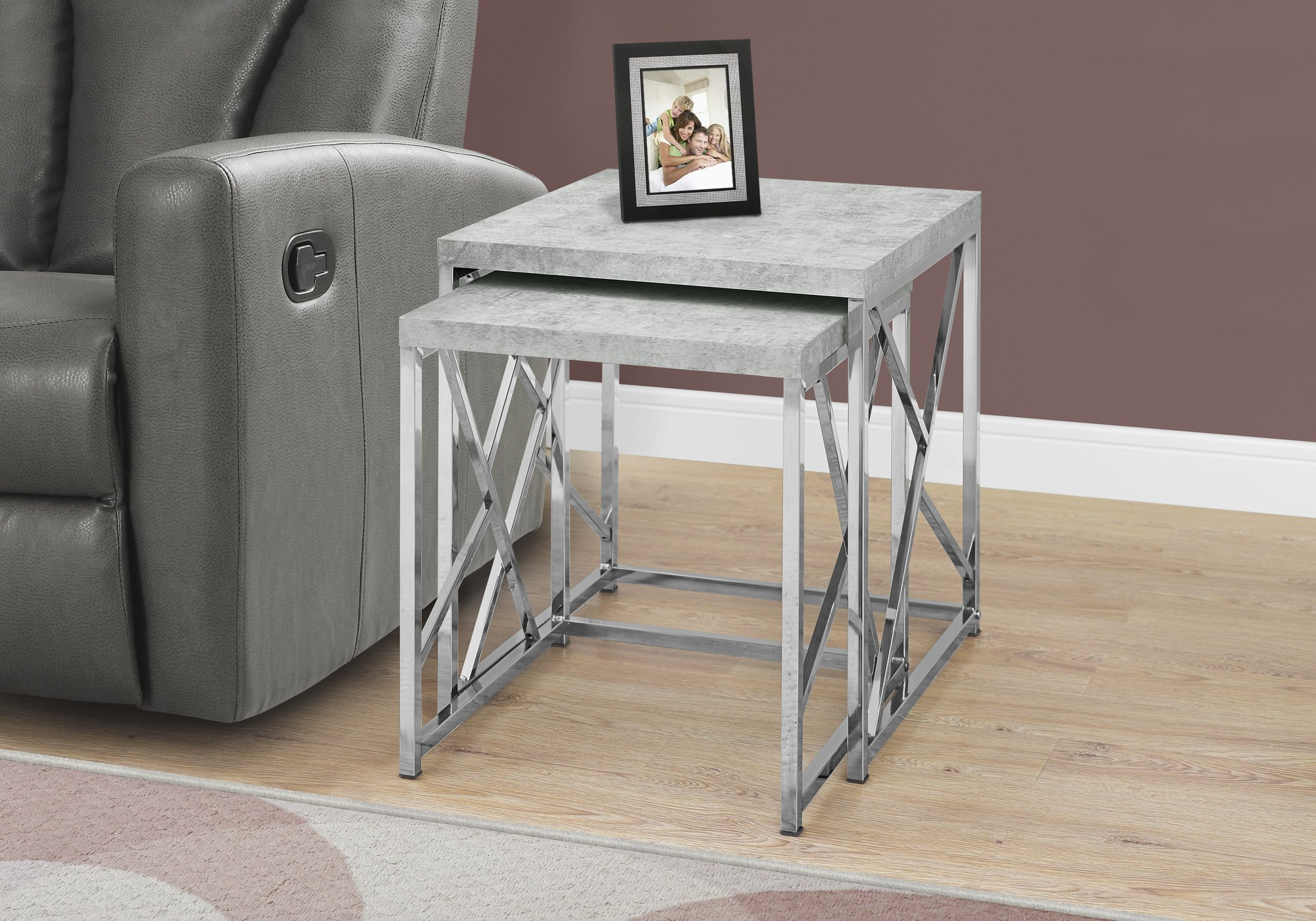 Monarch Specialties I Nesting Table-2Pcs Set/Grey Cement with Chrome Metal by Monarch Specialties