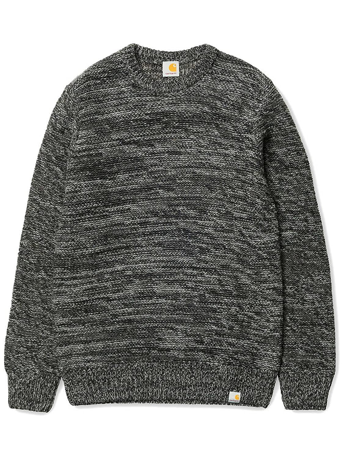 CARHARTT WIP - Crew-neck Sweaters - Men - Black and Grey Wool Accent Jumper for men