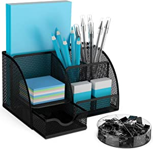BYLaconic Desk Organizer Mesh, 7 Compartments Multifunctional Desktop Stationary Organizer with Accessories Clips Sets for Office/Classroom/Home and Daily Needs - Black