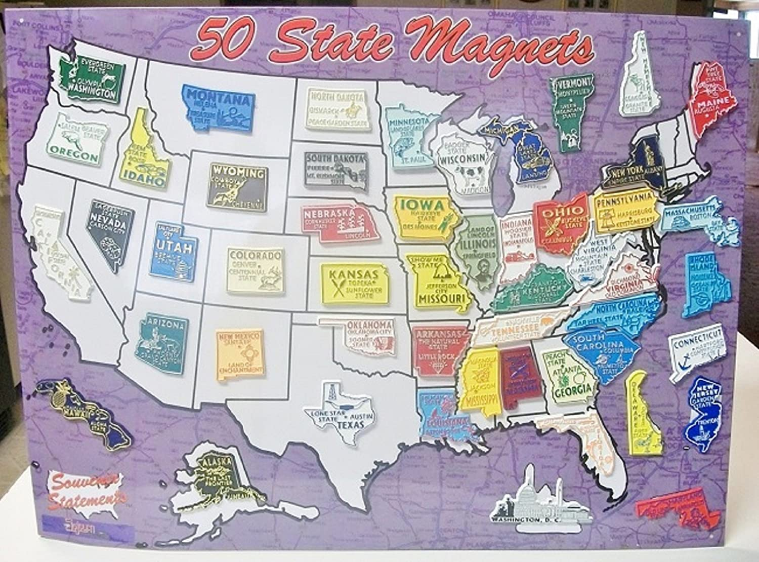Amazon Com All 50 State Magnets Plus Dc And Puerto Rico Complete Set Refrigerator Magnets Kitchen Dining