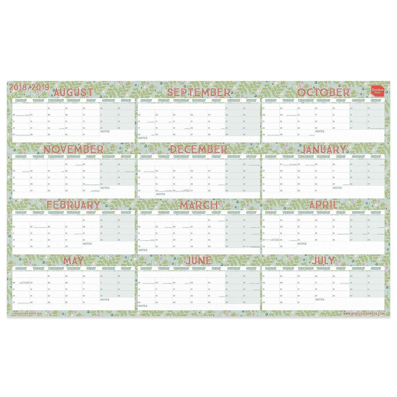 Boxclever Press 2018/19 akademischer Wandkalender fürs Zuhause oder Büro im Querformat. Plakatkalender mit Blocklayout, Laufzeit von August 2018 bis Juli 2019. Laminiert oder unlaminiert (unlaminiert)