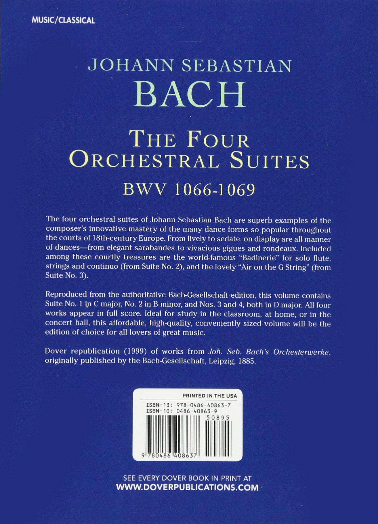 The Four Orchestral Suites (Dover Miniature Music Scores): Johann Sebastian  Bach: 0800759408634: Amazon.com: Books