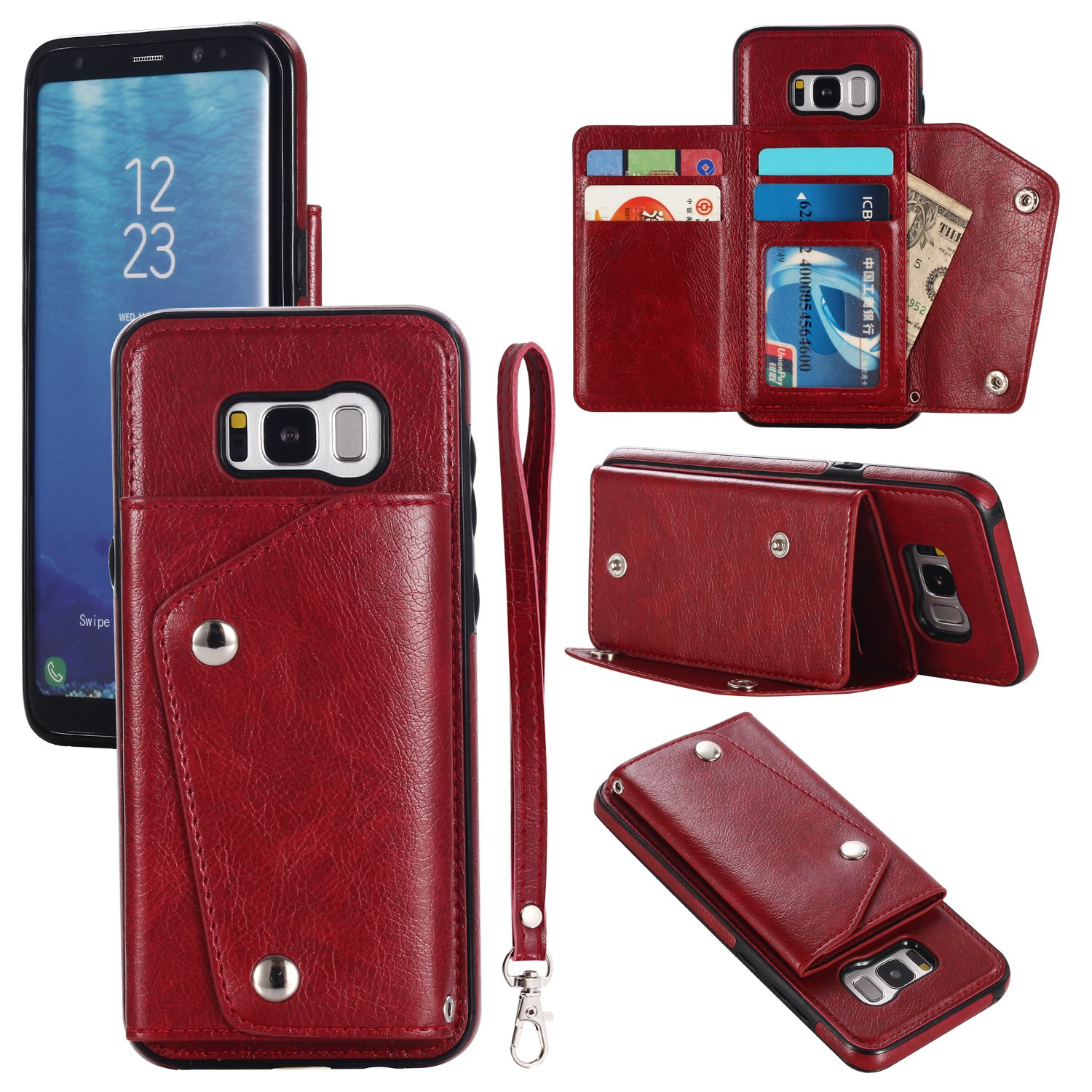 Gostyle Galaxy S8 Plus Wallet Case, Samsung Galaxy S8 Plus Case with Credit Card Slots, Fashion Multifunction Premium PU Leather Cover with Kickstand Cash Pocket Hand Strap Shockproof Cover, Red