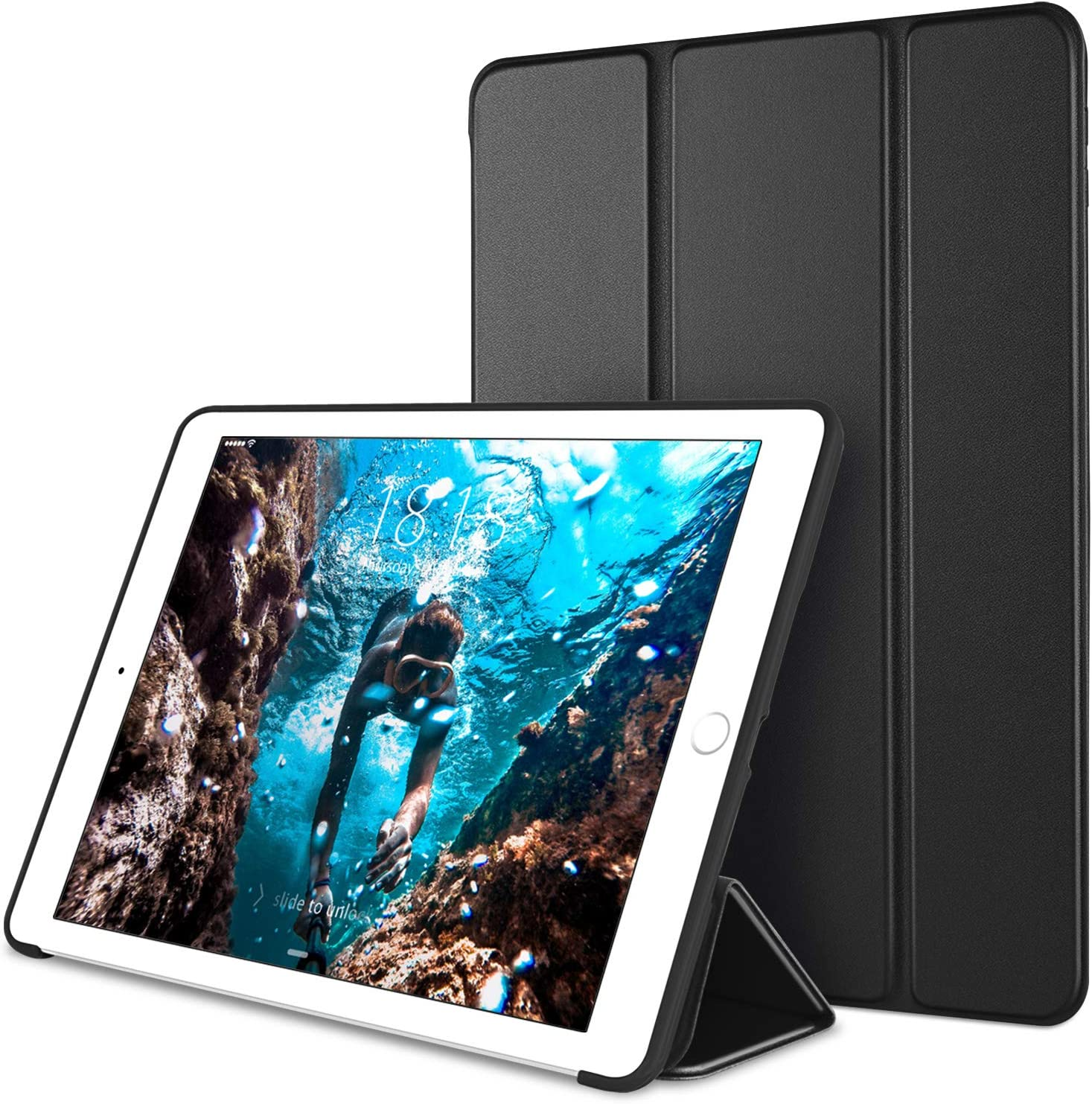 DTTO Case for iPad Mini 4,(Not Compatible with Mini 5th Generation 2019) Ultra Slim Lightweight[Auto Sleep/Wake] Smart Case Trifold Cover Stand with Flexible Soft TPU Back Cover for iPad mini4, Black