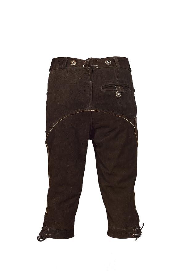 661fa5c92716c TR Martha Pantalon traditionnel bavarois (Oktoberfest) en cuir pour homme  avec bretelles marron foncé - longueur   genoux - tailles   46 à 60   Amazon.fr  ...
