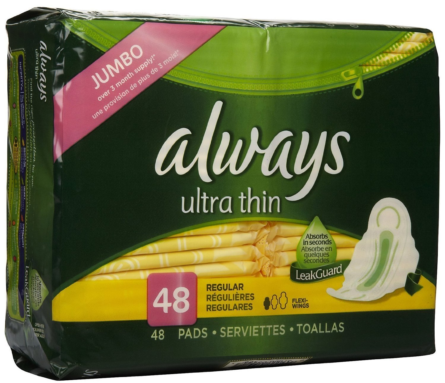 Amazon.com : Always Pads, Ultra Thin, Flexi-Wings, Regular, Moderate 48 ct (Pack of 6) : Feminine Hygiene Products Or Womens Health Medications And ...