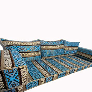 Sofá de tres plazas en color azul: Amazon.es: Hogar