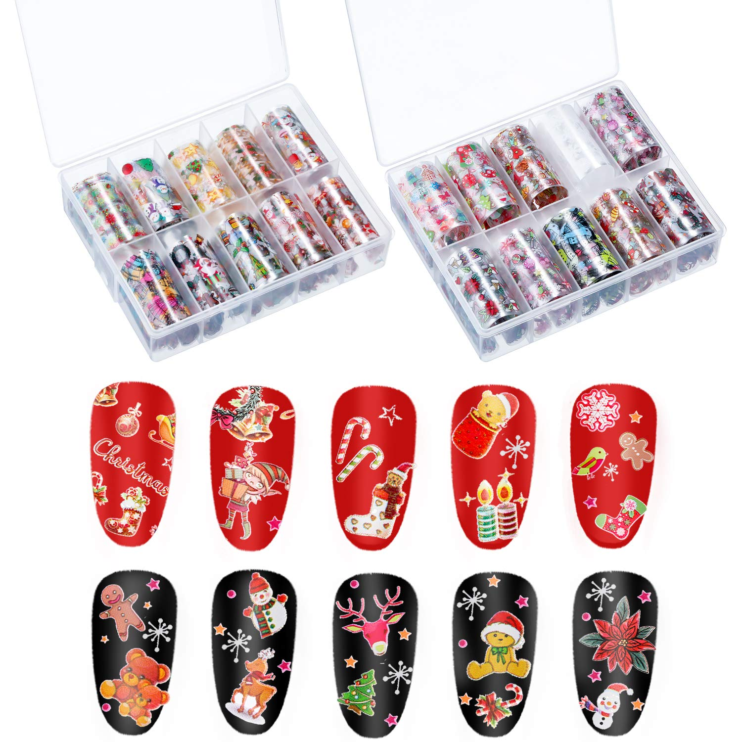 2 Boxes 20 Sheets Christmas Nail Decals Nail Art Stickers Nail Foil Transfer Wraps for Women Nail Art Decorations (Style Set 1) by Blulu