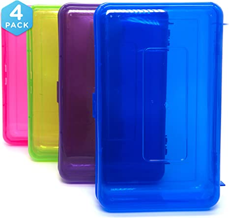 Emraw - Caja de almacenamiento multiusos de color brillante para suministros escolares, caja de lápices de plástico resistente, estuche de plástico pequeño, mini organizador de almacenamiento (4 unidades al azar): Amazon.es: Oficina
