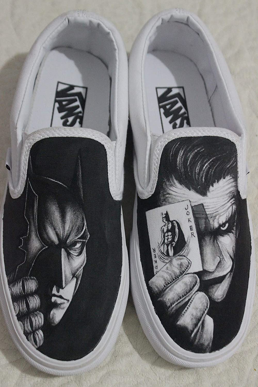 c3b88505b37f Batman Shoes Hand Painted Custom Shoes Batman VS Joker Vans Handpainted Batman  Shoes Hand Painted Canvas Shoes  Amazon.co.uk  Handmade