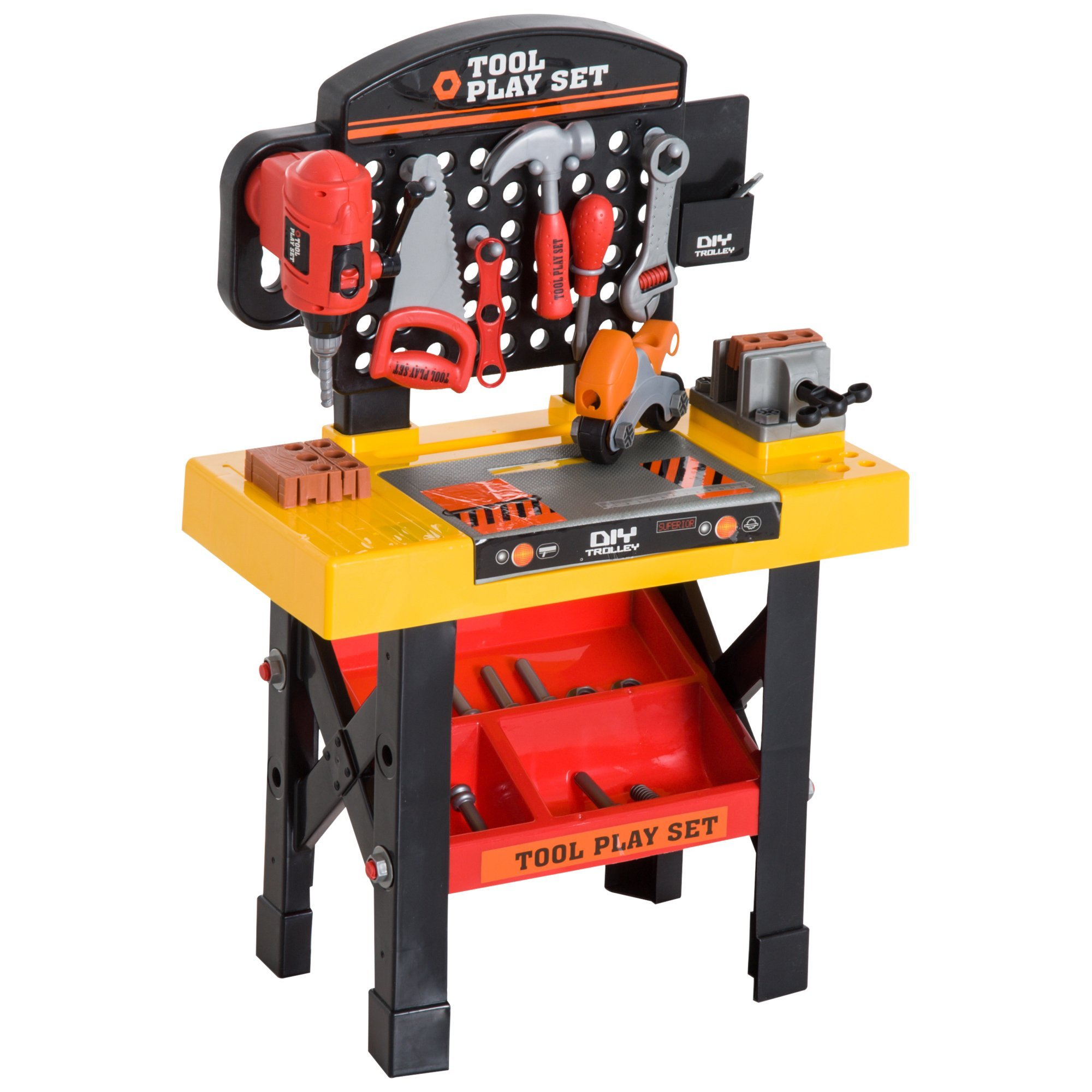 Qaba 53 Piece Kids Portable Pretend Play Toy Tool Workshop Bench Table Set with Shelf