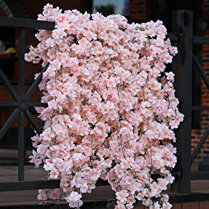 PARTY JOY Artificial Cherry Blossom Hanging Vine Silk Garland Fake Wreath Wedding Party Decor,Pack of 2 (5, Pink Cherry Blossom)