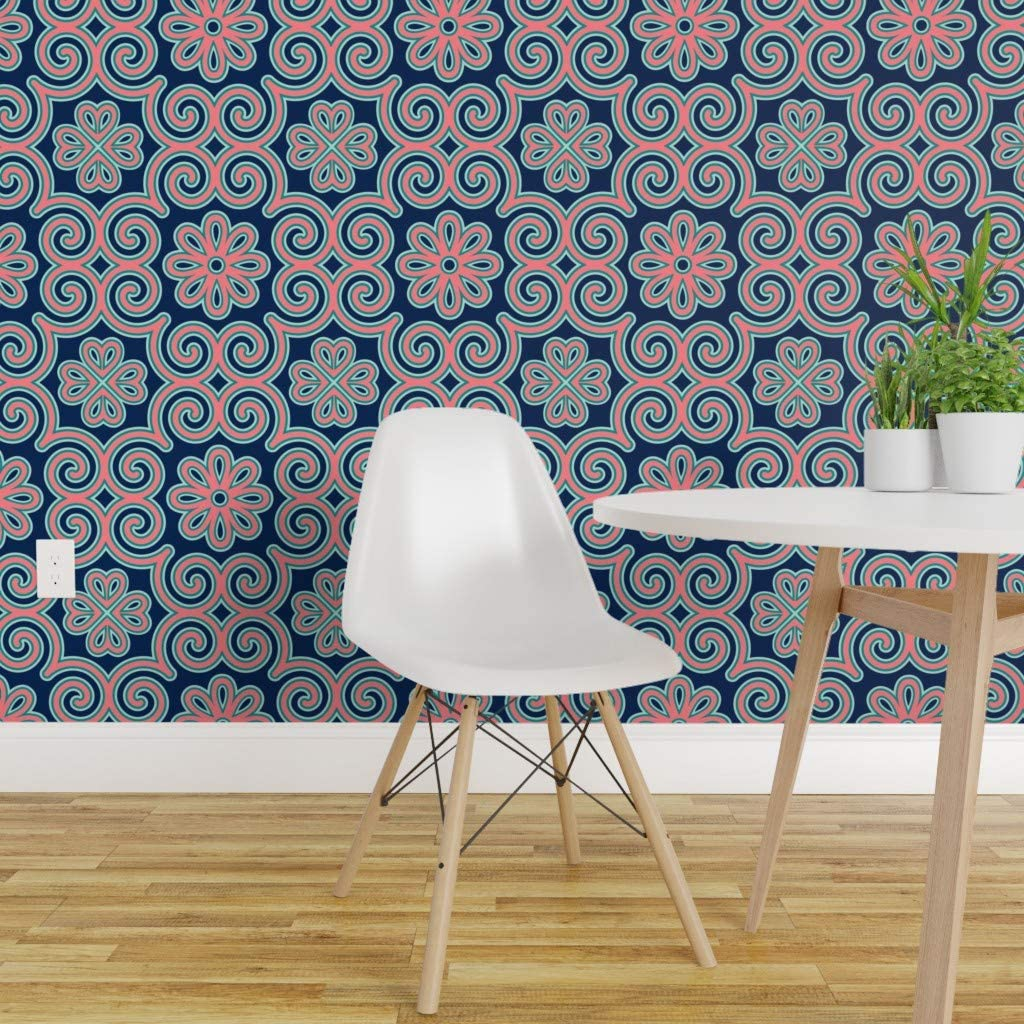 Peel And Stick Removable Wallpaper Jade Navy Coral Floral