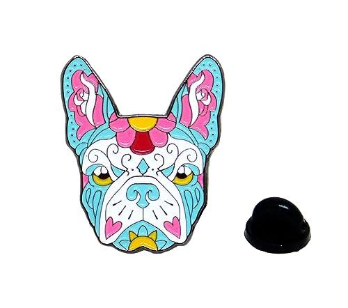 Bulldog Francese Sugar Skull Tattoo Dog Lover Smalto Lucido