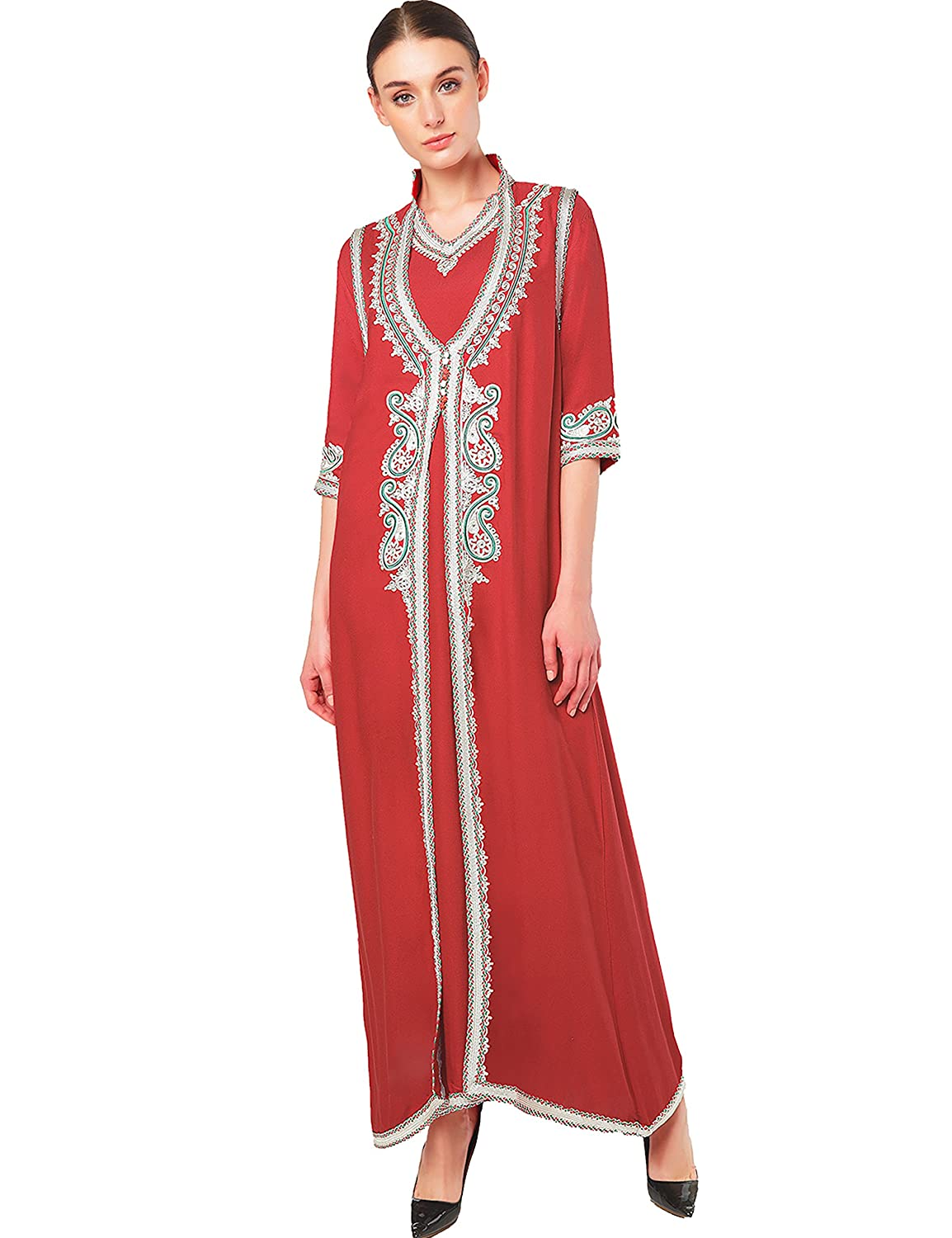 Muslim Dress Dubai Kaftan for Women Half Sleeve Arabic Long Dress Abaya Islamic Clothing Girls Caftan Jalabiya 2pcs