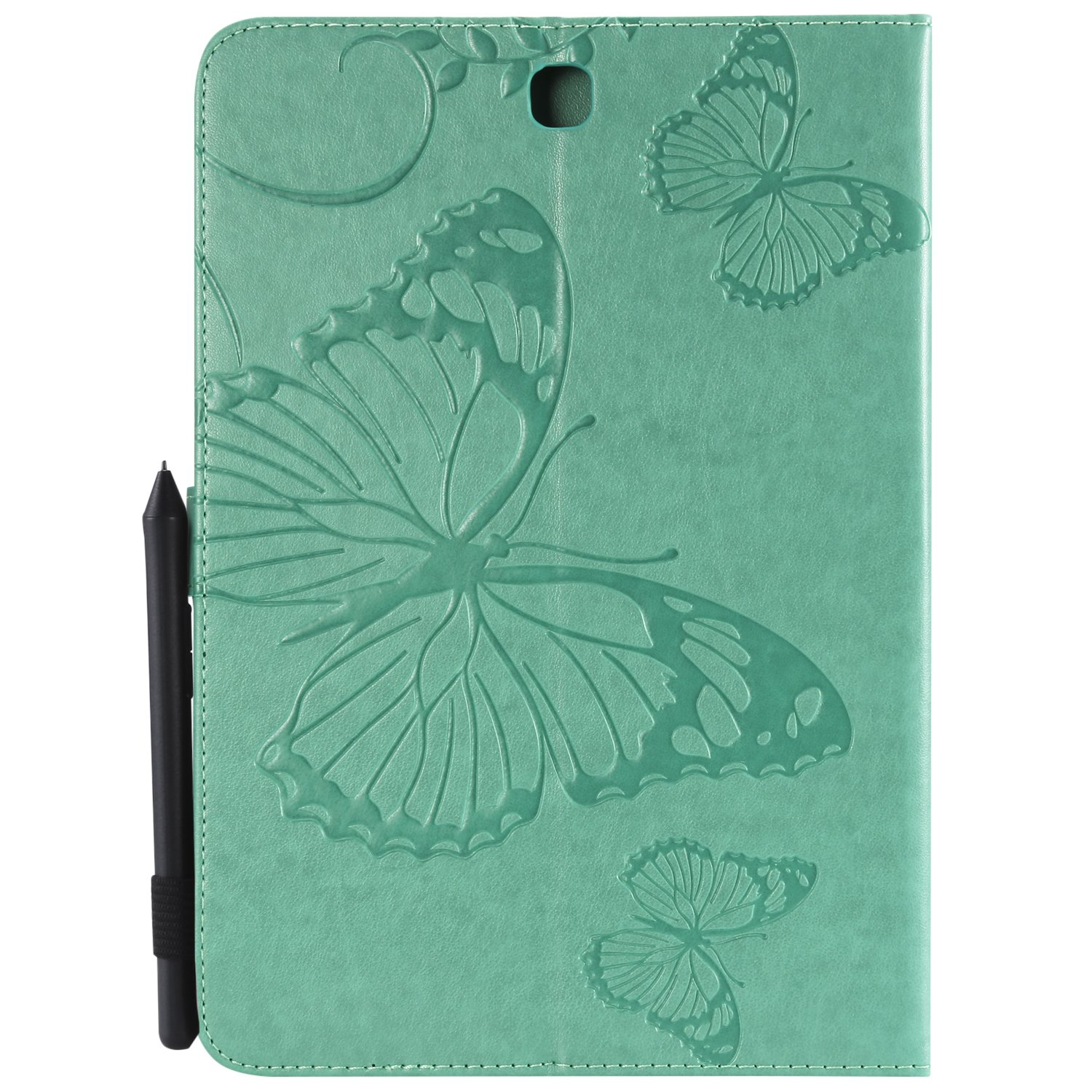 Shinyzone Tablet Leather Case for Samsung Galaxy Tab A 9.7 T550,Embossed Green Butterfly Pattern with Credit Card Slots and Pencil Holder,Auto Sleep and Wake Function Magnetic Flip Stand Cover by ShinyZone (Image #2)