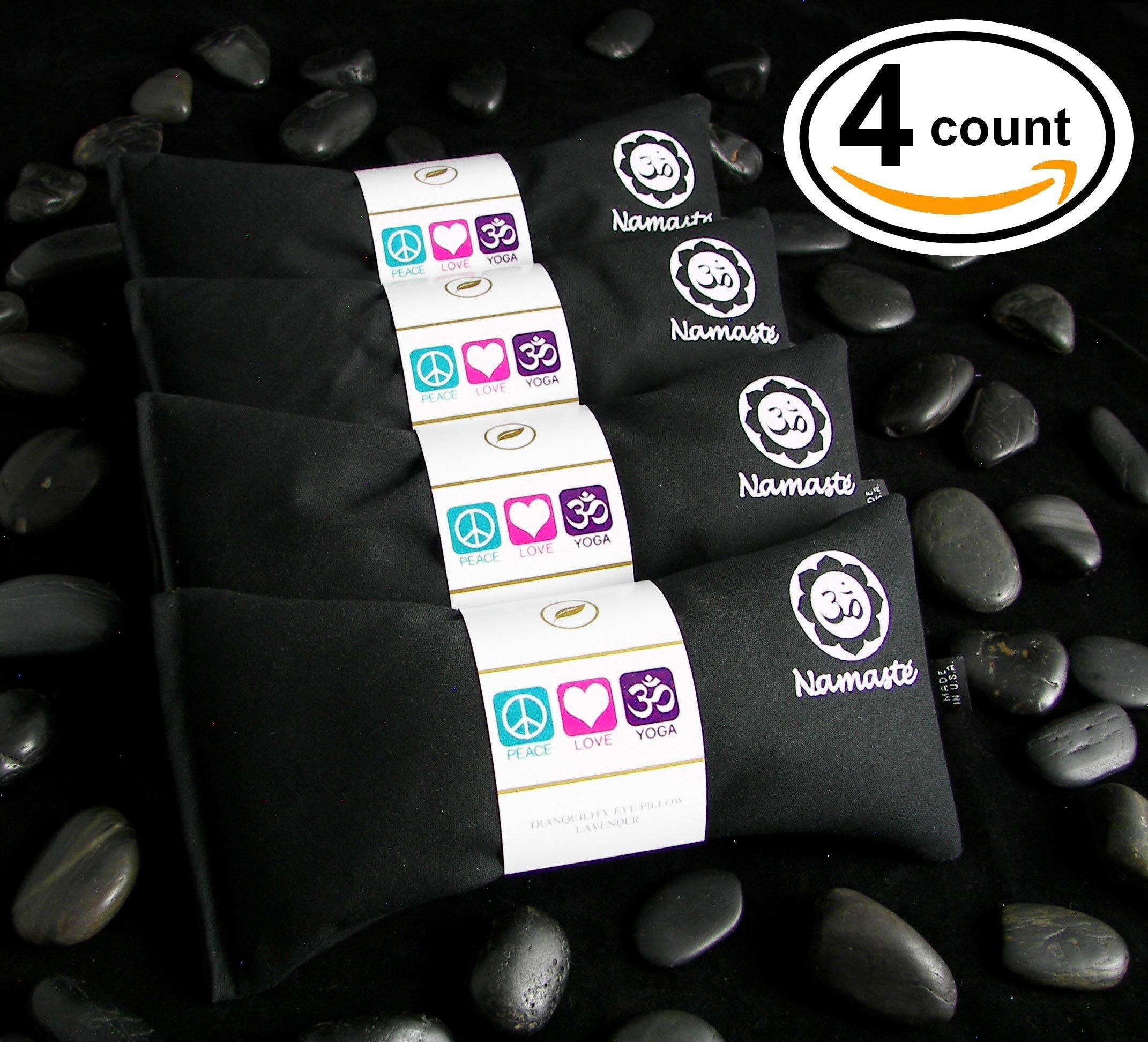 Happy Wraps Namaste Yoga Eye Pillows - Unscented Eye Pillows for Yoga - Set of 4 - Black Cotton by Happy Wraps