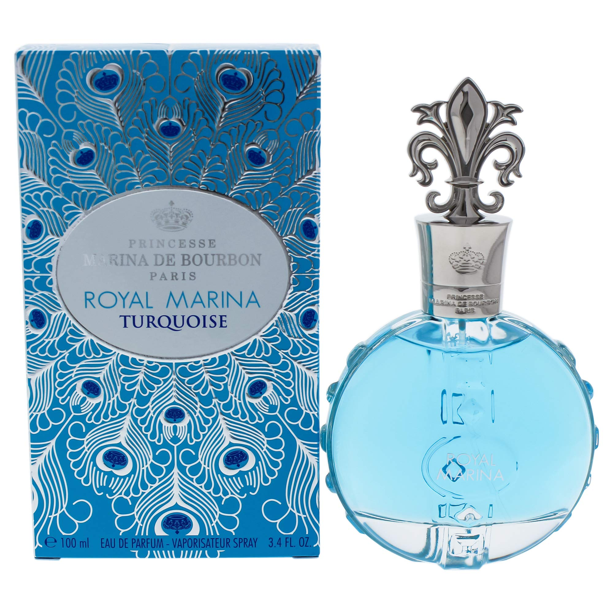 Royal Marina Turquoise by Princesse Marina de Bourbon | Eau de Parfum Spray | Fragrance for Women | Fresh Floral Scent with Notes of Green Apple and Lily of the Valley | 100 mL / 3.4 fl oz by Marina de Bourbon