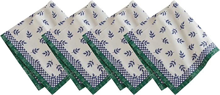 """Villeroy and Boch Leaf and Check Cotton Fabric Napkin (Set of 4), 21""""X21"""", Multi"""