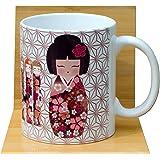 Sakura Kokeshi Tasse à thé Blanc