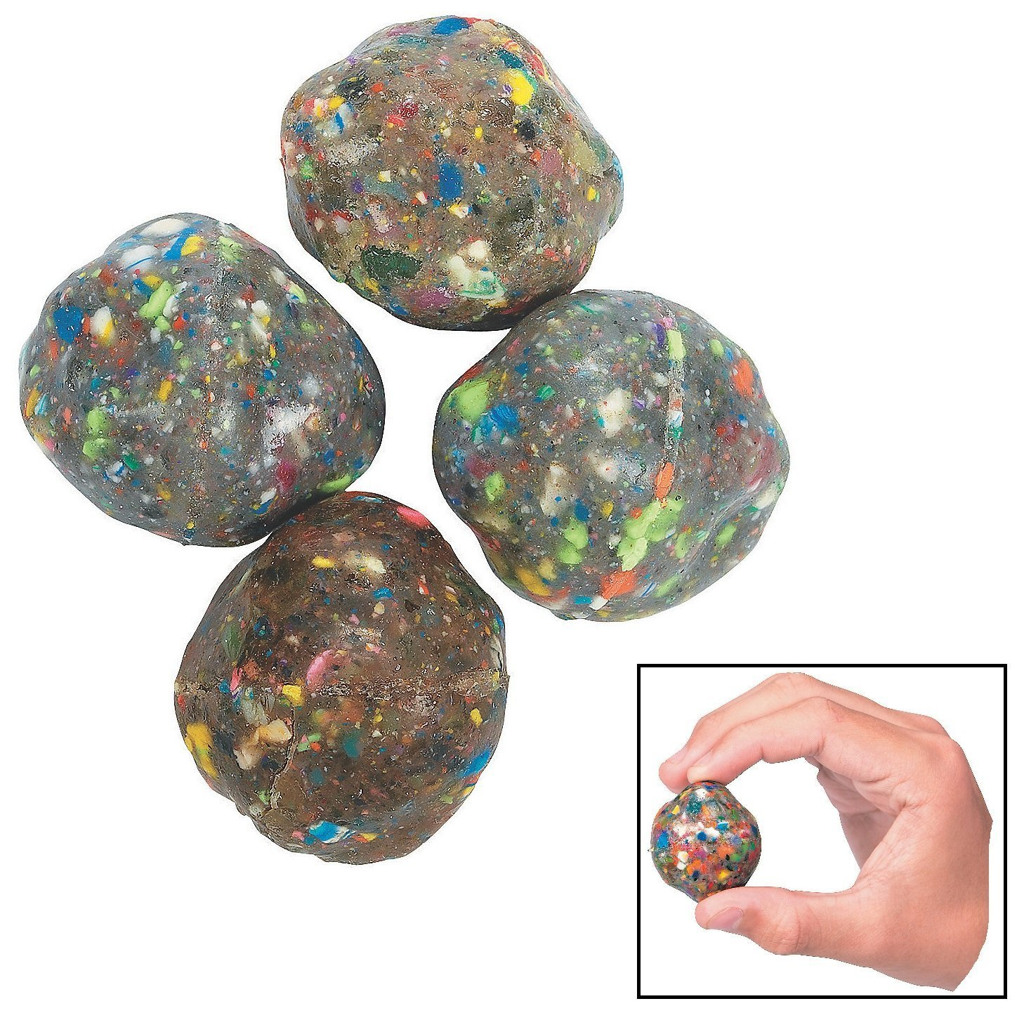 "Fun Express Rubber Rock Bouncing Balls - (12 Pieces.) Rubber. 1 1/2"" (38mm)"