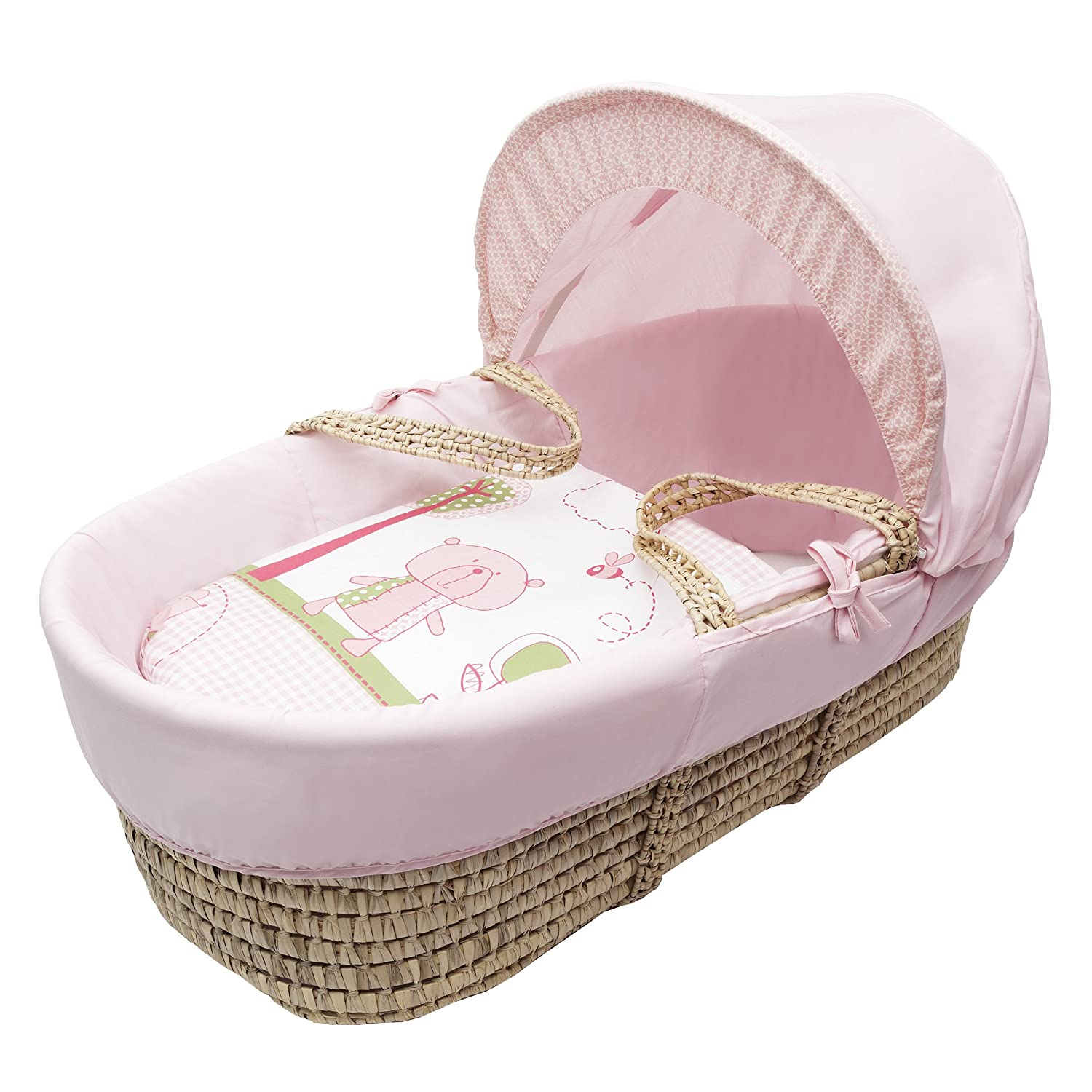 Beary Nice Pink Moses Basket Dressings only(Basket Elegant Baby