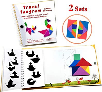 Wallxin Tangram Travel Games 360 Magnetic Puzzle and Questions Build Animals People Objects with 7 Simple Ma