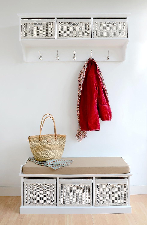 tetbury white storage bench with cushion quality hallway bench very sturdy amazoncouk kitchen u0026 home