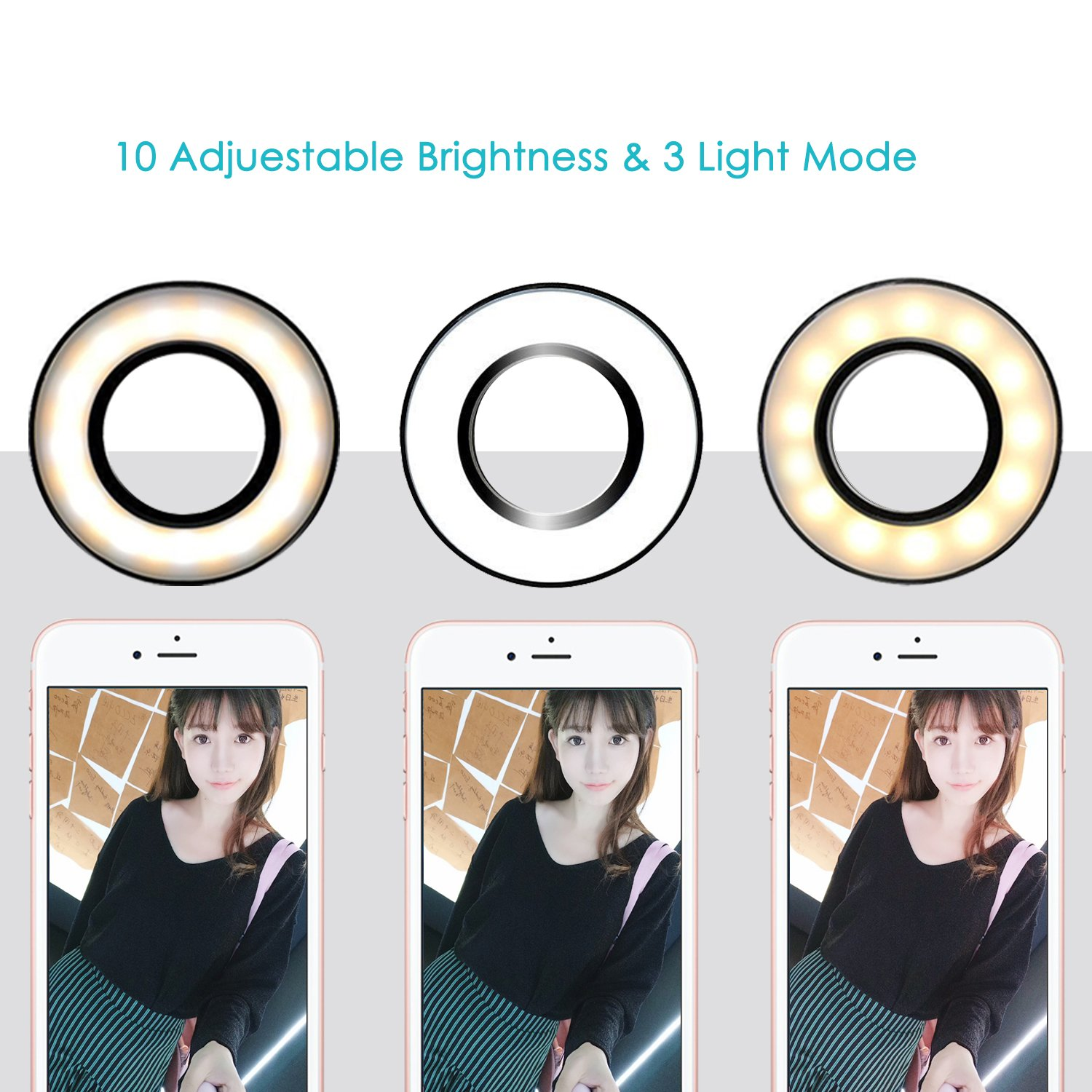 SHEKAR Dimmable Selfie Ring light with Cell Phone Holder | Flexible Mobile Phone Clip Holder Lazy Bracket Desk Lamp with Clip| Perfect for Live Stream, Youtube, Facebook