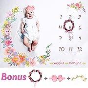 Baby Monthly Milestone Blanket Large 60 x40  | Bonus Floral Wreath & Headband | Soft Photography Background Blanket | Newborn Girls or Boys Photo Prop | Best Baby Shower Gift | Months Watch Me Grow