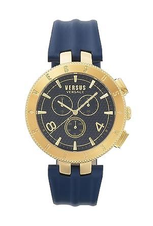 dfab907f375b Versus By Versace Montre Homme Chronographe Quartz avec Bracelet en Cuir –  S76090017