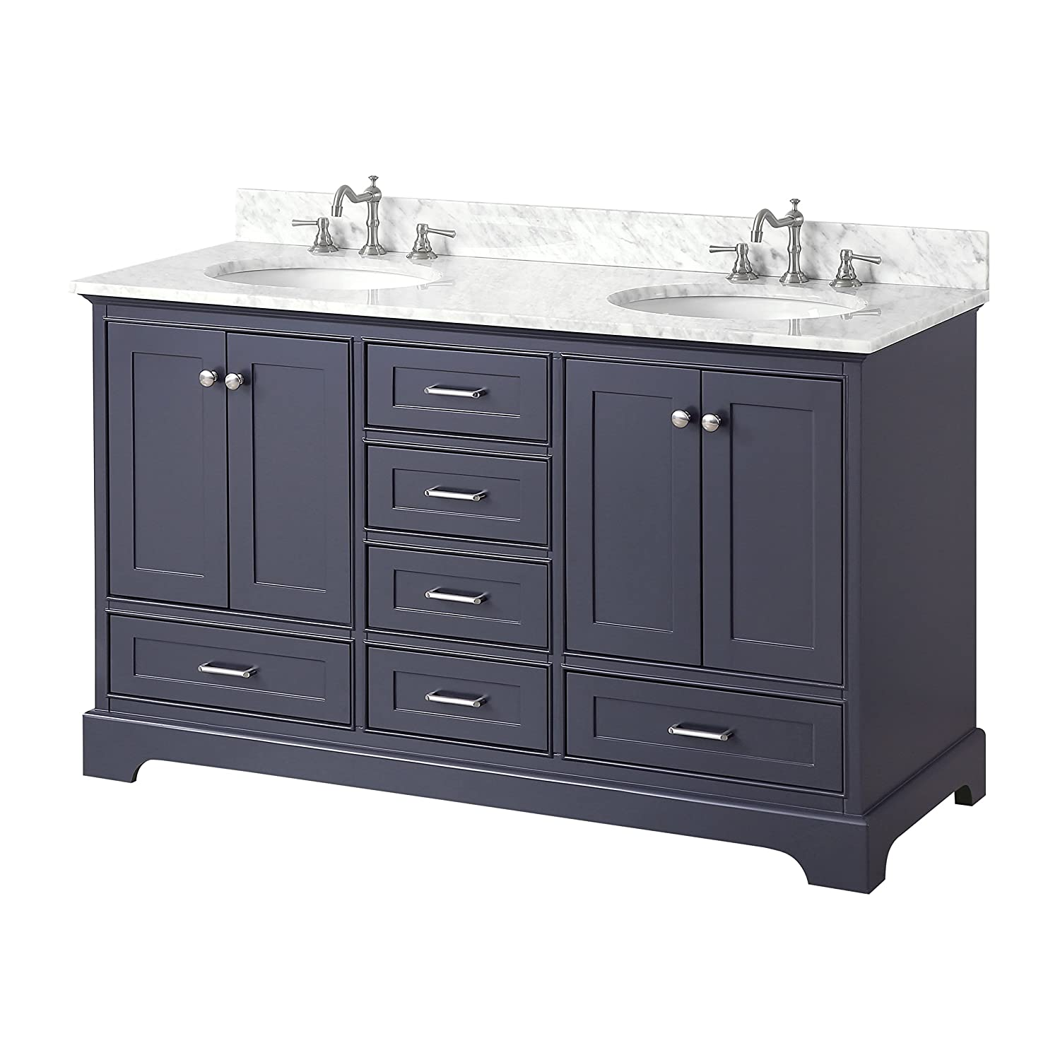 Harper 60 Inch Double Bathroom Vanity (Carrara/Charcoal Gray): Includes  Authentic Italian Carrara Marble Countertop, Charcoal Gray Cabinet With  Soft Close ...