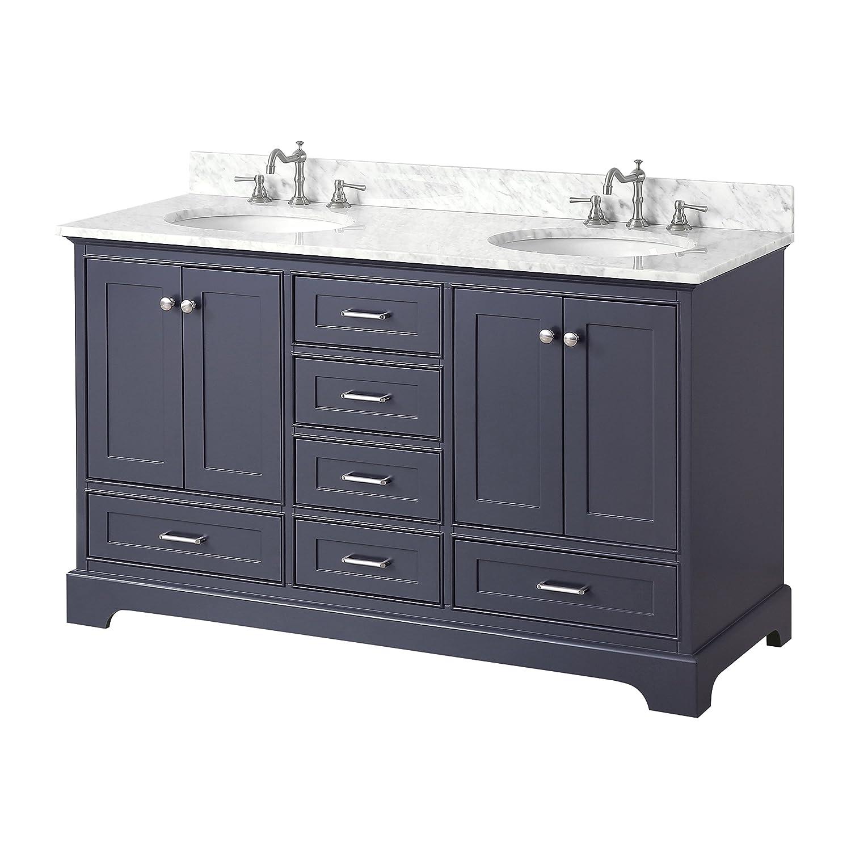 Harper 60 inch Double Bathroom Vanity Carrara Charcoal Gray